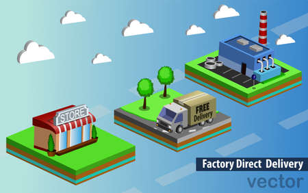 factory free direct delivery vector illustration 3d infographic Ilustracja