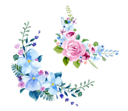 Set of the floral arrangement set Pink roses and peonies with green leaves. Vector romantic garden flowers. Stock Illustratie