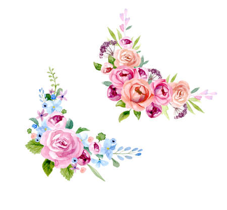 Set of the floral arrangement set Pink roses and peonies with green leaves. Vector romantic garden flowers. Illustration