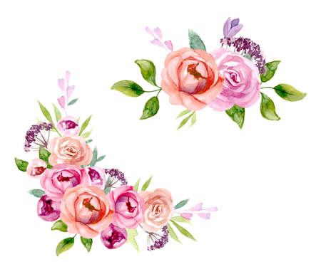 Set des Blumenarrangements Set Rosa Rosen und Pfingstrosen mit grünen Blättern. Vektor romantische Gartenblumen.