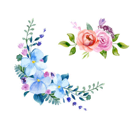Set of the floral arrangement set Pink roses and peonies with green leaves. Vector romantic garden flowers. Zdjęcie Seryjne