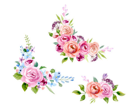 Set of the floral arrangement set Pink roses and peonies with green leaves. Vector romantic garden flowers. Stock Photo