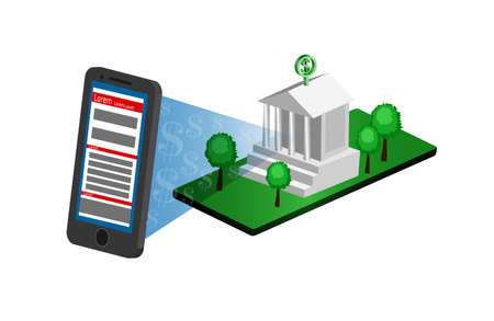 Mobile banking, money transfer, financial transaction flat 3d isometric vector concept illustration Illustration