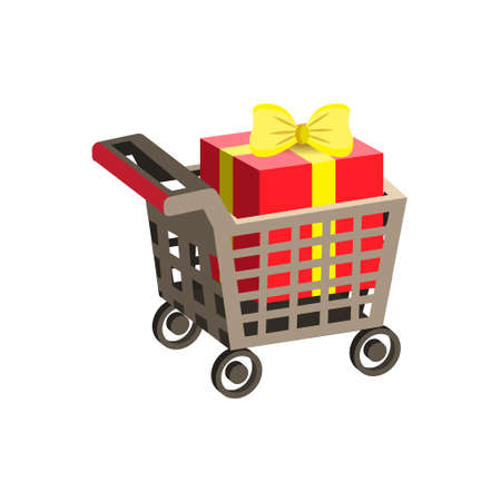 Shopping supermarket cart. Trolley 3d for shopping with gift box.Vector illustration on a white background. Illustration
