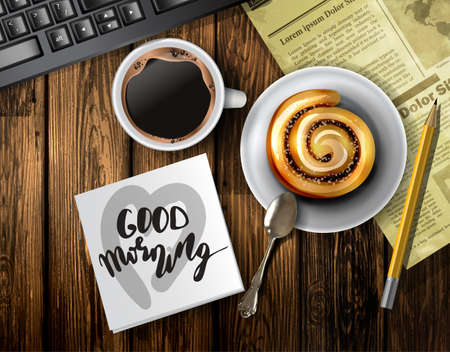 Coffee cup on a wooden table, With cinnamon roll keyboard vector illustration template design