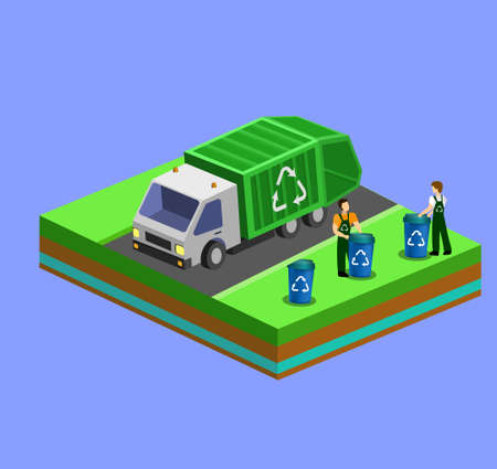 Garbage Collector Truck . 3D vector set. Isometric track collect storage Vehicle, garbage cans. machine components set. Workers cleaning garbage cans Recycle and cleaning theme.