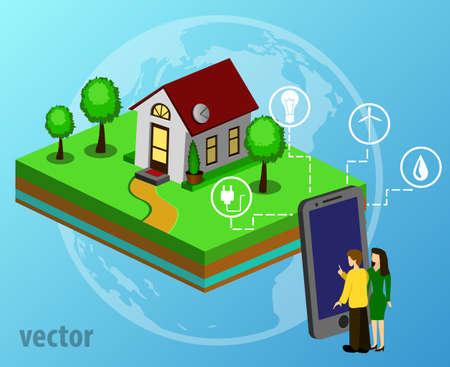 House design style modern vector illustration concept of smart house technology