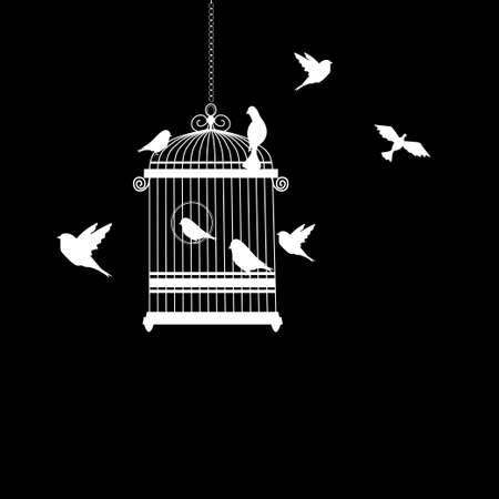 bird cage with birds flying silhouette vector illustration Imagens - 112146711