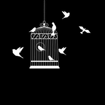bird cage with birds flying silhouette vector illustration Imagens - 112115096