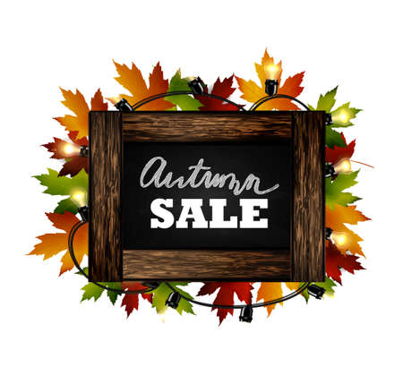 Autumn sale. Autumn leaves are drawn with chalk on a black chalkboard. Sketch, design elements. Vector.