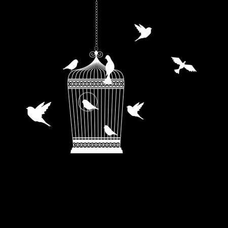 bird cage with birds flying silhouette vector illustration Ilustração
