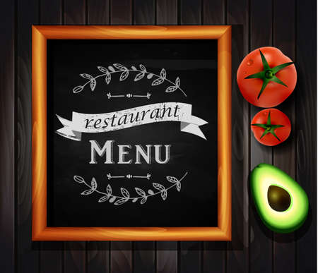 Restaurant menu board Restaurant menu bulletin board with chalk stroked alphabet capital letters, numbers and symbols for your own text.