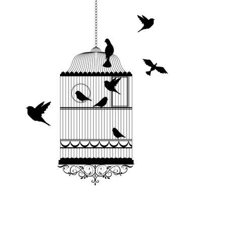 bird cage with birds flying silhouette vector illustration Illustration