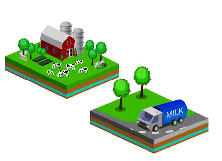 Isometric Red Barn And Trees cows vector illustration icon with milk truck. Fresh dairy concept Foto de archivo - 111954486