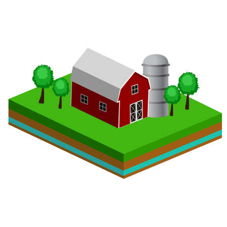 Isometric Red Barn And Trees cows vector illustration icon Foto de archivo - 111954487