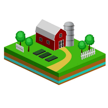 Isometric Red Barn And Trees cows vector illustration icon