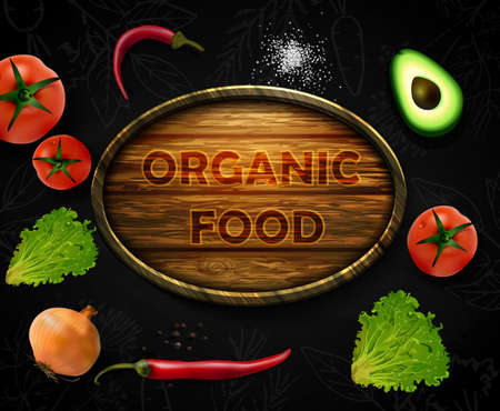Realistic vector Vegetables with concept logo for Organic Shop on black background