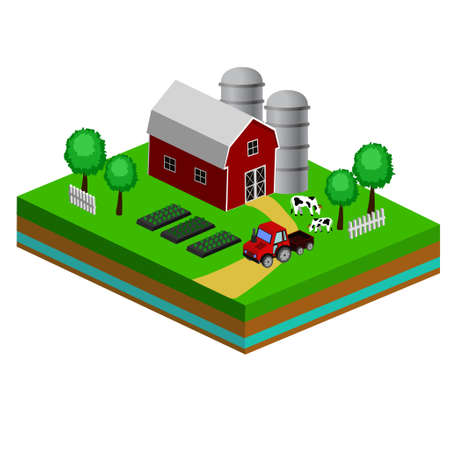 Isometric Red Barn And Trees cows vector illustration Foto de archivo - 106725133