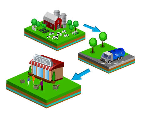 Isometric Red Barn And Trees cows vector illustration Foto de archivo - 106725136
