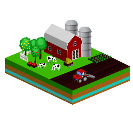 Isometric Red Barn And Trees cows vector illustration icon Foto de archivo - 111741463