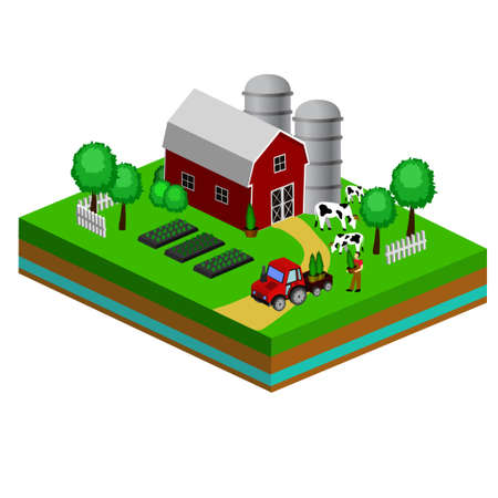 Isometric Red Barn And Trees cows vector illustration icon Foto de archivo - 111631466