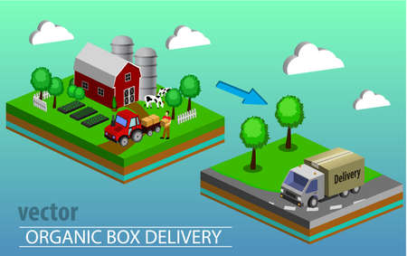 Organic market concept. Vector illustration of a store of organic vegetables and fruits. Delivery of natural products from the garden straight to the shop. Isometric