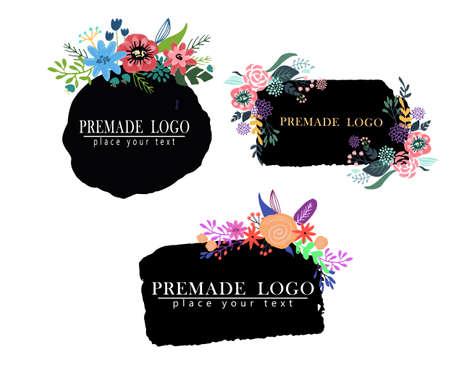 Hand drawn cute floral logo template Logo