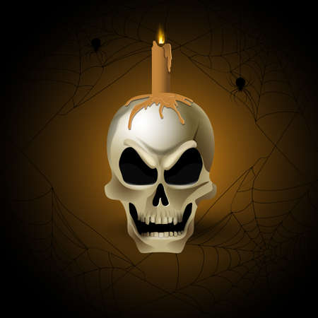 Bright graffiti illustration of skull and candle Isolated with spiders and web Vectortor art.
