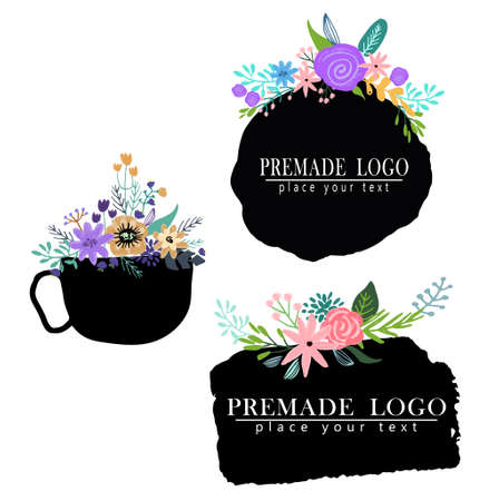 Hand drawn cute floral logo template Stock Photo