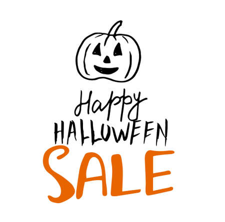 Halloween Sale vector banner with letterin Vector illustration.