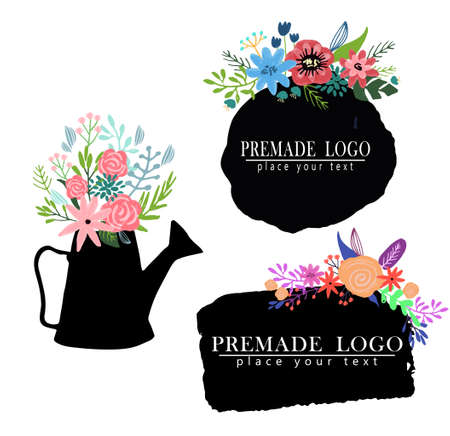 Hand drawn cute floral template set with sample text on inkblot vector