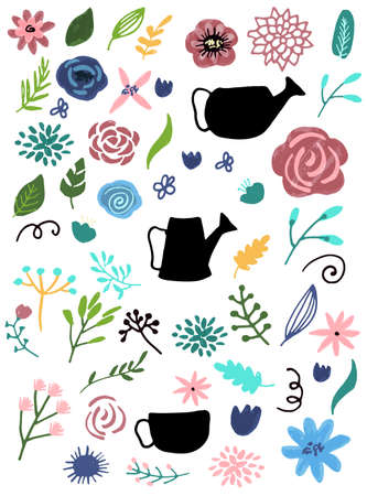 Flower graphic design. Vector set of floral elements with hand drawn flowers collection