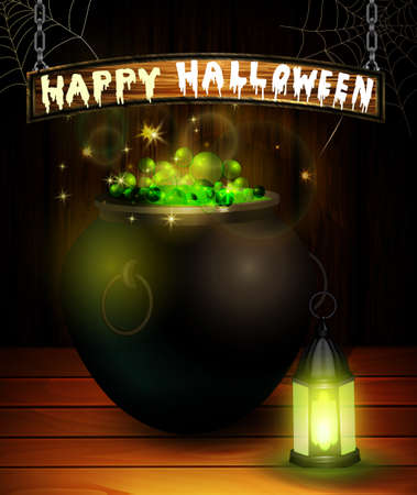Halloween greeting card with witch lantern and cauldron on wooden wall background vector