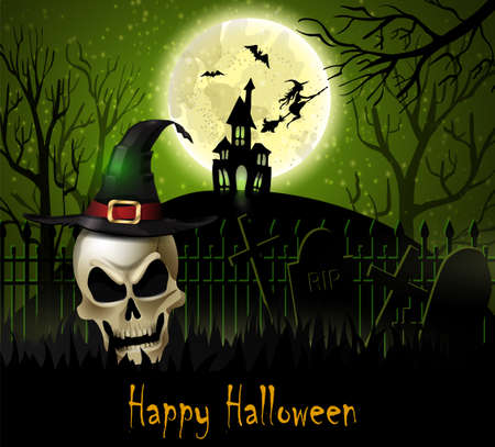 Halloween background of scull on the full moon. Vector