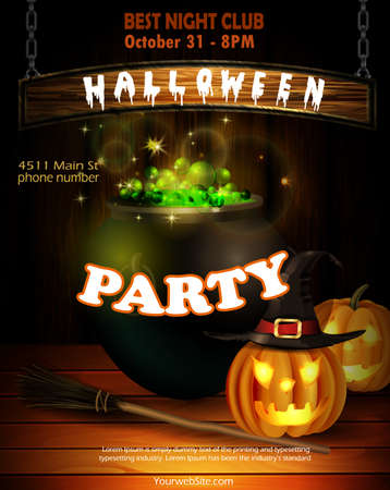 Halloween party invitation on wooden wall background vector