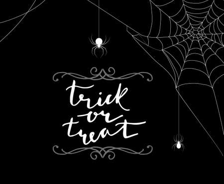 Trick or treat Calligraphy. Halloween banner. Halloween lettering. on background with spider webs