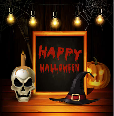Halloween pumpkin realistic and skull with witch hat and broom on wooden wall background with blackboard frame vector