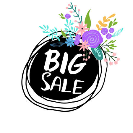Sale. Hand drawn word tag. Brush pen lettering with flowers Can be used for print bags, posters, cards, stationery and for web banners, advertisement .