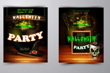Halloween party invitation set on wooden wall background vector