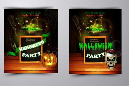 Halloween party invitation on wooden wall background 免版税图像