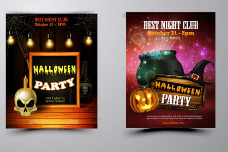 Halloween party flyer set with pumpkins, hat, bats, witch and skull vector
