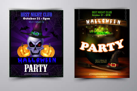 Halloween party invitation set spooky background vector