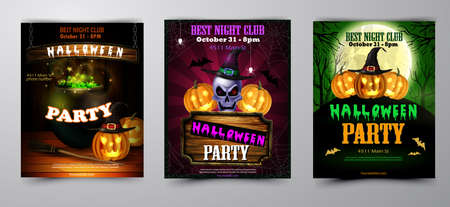 Halloween party flyer set with pumpkins, hat, bats, skull witch and cemetery vector