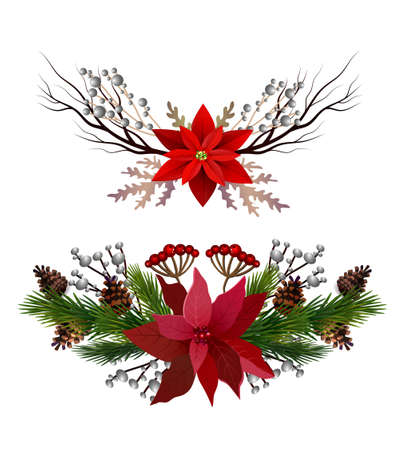 Christmas decoration set with evergreen treess pine cones and poinsettia isolated vector  イラスト・ベクター素材