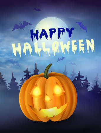 Halloween pumpkin under the moonlight Illustration