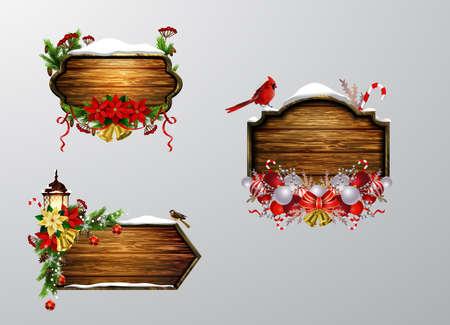 Vector wooden christmas board 写真素材