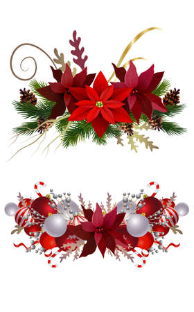 Christmas decoration collection isolated on white vector Illustration