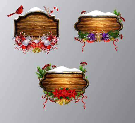 Vector wooden christmas board Stock Photo
