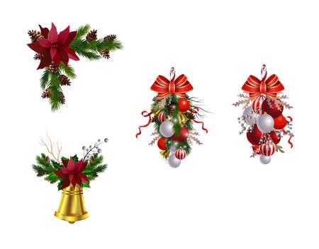 Kolekcja dekoracji świątecznych na białym wektorze
