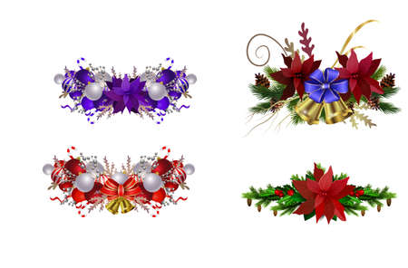 Christmas decoration collection isolated on white vector Çizim